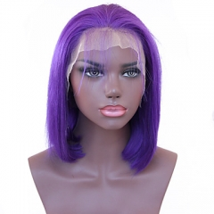 Spicyhair Good Quality Best Selling Glueless Popular bob wig Light Purple color Straight bob lace front wig 100% human hair Selling Directly from Fact
