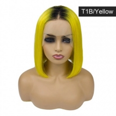 Spicyhair Best Quality real human hair Popular Fashion Looking Dark root 99J color  wavy bob lace front wig